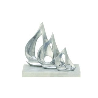 Aluminum/Marble Silver-colored 10-inch Wide x 9-inch High Sailboat Sculpture