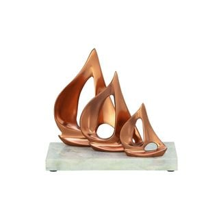 Gold Aluminum Sailboats on a White Marble Base 9-inch High x 10-inch Wide Sculpture