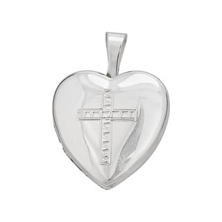 Decadence Sterling Silver Rhodium Cross 13-millimeter Heart Locket Pendant
