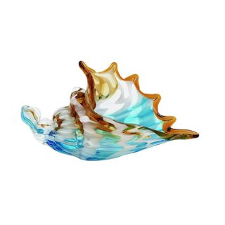10-inch Wide x 4-inch High Blue/Brown Glass Shell