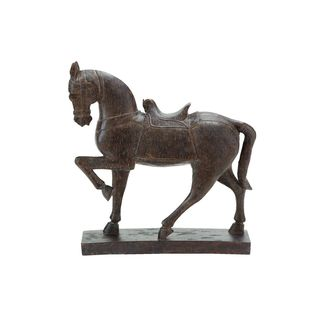 Polystone 15-inch High x 14-inch Wide Horse Sculpture - Thumbnail 0