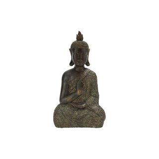 Global Inspired Meditating Thai Buddha Brown Resin 21-inches High x 11-inches Wide Sculpture