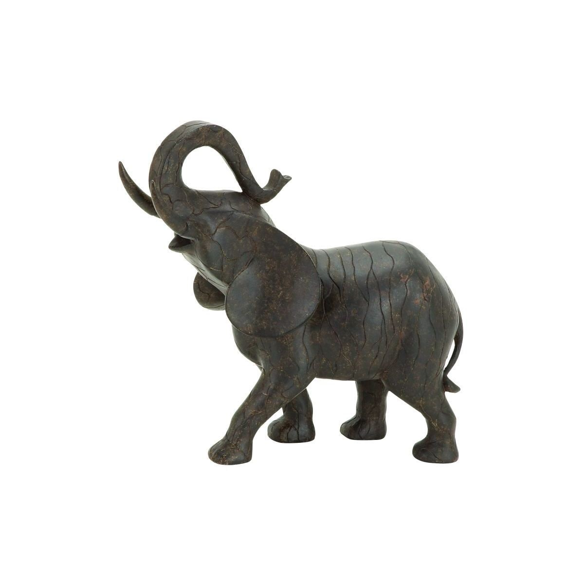 Brown Polystone Elephant Sculpture