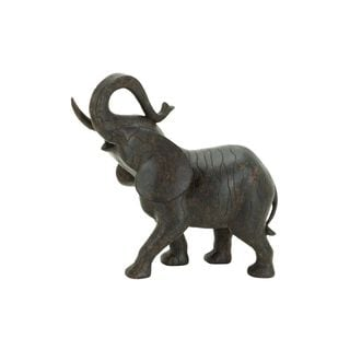 Brown Polystone Elephant Sculpture - Thumbnail 0