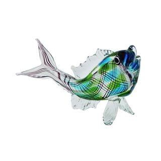 Glass 14-inch Wide x 8-inch High Fish Figurine