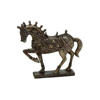 Brown Polystone Resin 10-inch Horse Statue