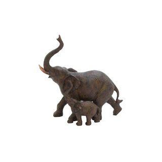 The Curated Nomad Merced Polystone Mother and Child Elephant Sculpture
