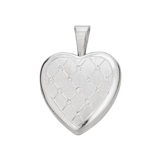 Decadence Sterling Silver Rhodium Satin Lattice 13-millimeter Heart Locket Pendant