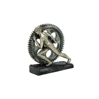 Grey Polystone 8-inches High x 7-inches Wide Man Pushing Gear Wheel Sculpture