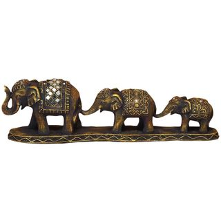 Bronze-finish Polystone 6-inches High x 16-inches Wide Three Elephants Sculpture