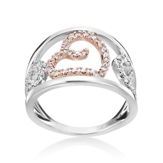 Andrew Charles 14k White and Pink Gold Wide 1/3ct TDW Diamond Band