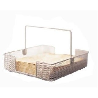 YBM Home Silver Mesh Napkin Holder Basket