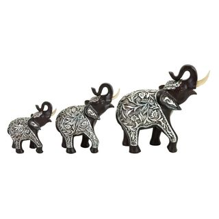 Silver and Brown Resin Elephant Sculpture (Set of 3)