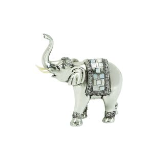 The Curated Nomad Merced Polystone Elephant Statuette in Silver