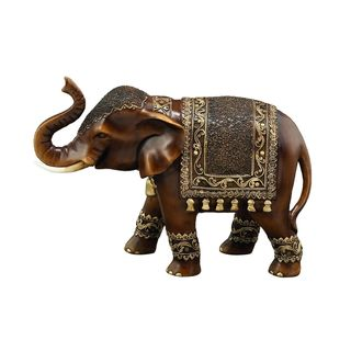 Bronze-finish Polystone 11-inch Wide x 8-inch High Elephant Sculpture