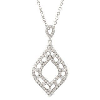 Luxiro Sterling Silver Pave Cubic Zirconia Teardrop Pendant Necklace