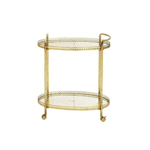 Copper Grove Whinlatter Distressed Gold Brass Oval Tea Roll Cart