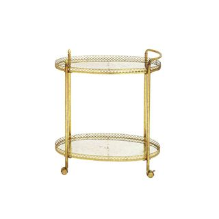 Traditional 35 Inch Round Iron and Glass 2-Tier Cart by Studio 350