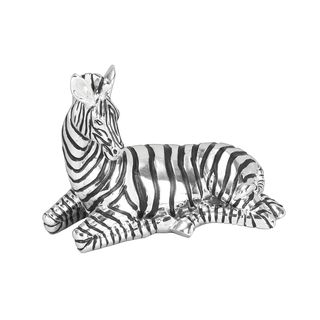 Polystone Lying Down Zebra Sculpture