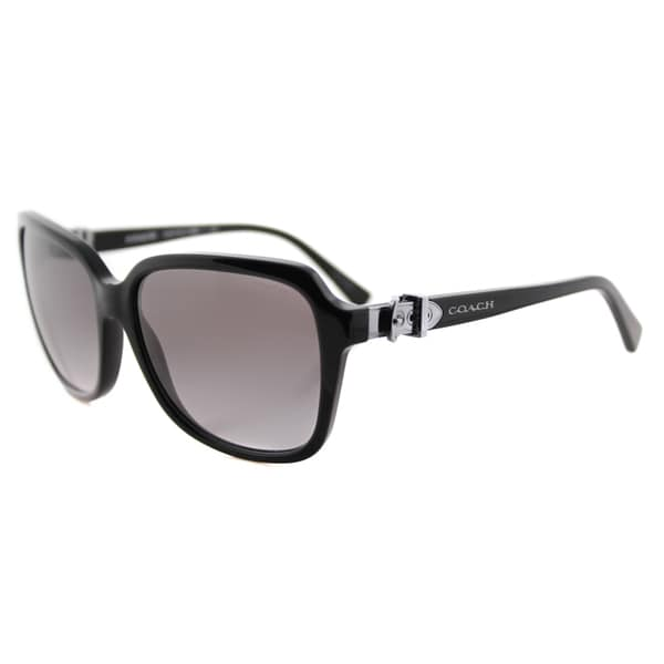 Coach HC 8179 500211 L1598 Black Plastic Square Pink Gradient Lens Sunglasses