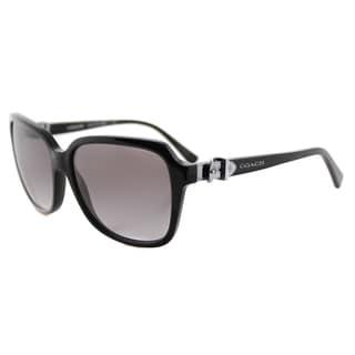 Coach HC 8179 500211 L1598 Black Plastic Square Pink Gradient Lens Sunglasses