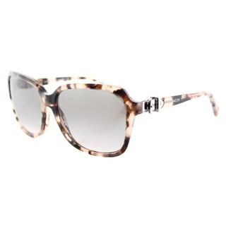 Coach HC 8179 54033B L1598 Peach Tortoise Plastic Square Grey Gradient Lens Sunglasses