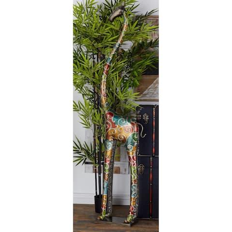 Eclectic 73 x 17 Inch Standing Giraffe Iron Sculpture by Studio 350