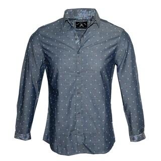 Men's 'Gimme some Skull' Long Sleeve Mini Skull Design Button Up Shirt by Rock Roll n Soul
