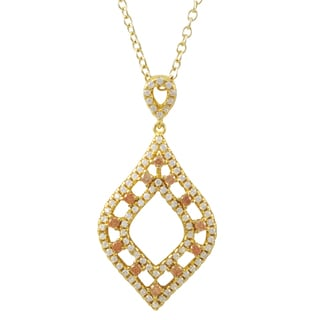 Luxiro Gold Finish Sterling Silver Champagne Cubic Zirconia Teardrop Pendant Necklace