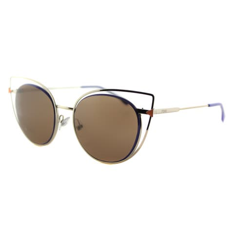 Fendi FF 0176 3YG Eye Color Light Gold Metal Cat-Eye Brown Lens Sunglasses