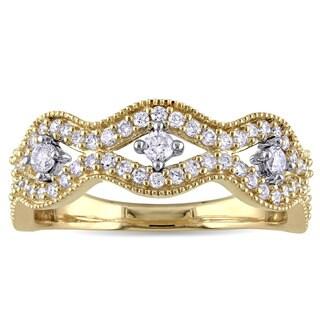 Laura Ashley 10k Yellow Gold 1/2ct TDW Diamond Wavy Ring (G-H, I2-I3)