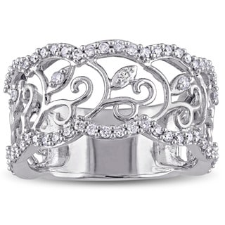 Laura Ashley 10k White Gold 5/8ct TDW Diamond Filigree Floral Ring (G-H, I2-I3)