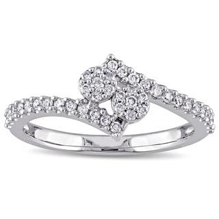 Laura Ashley 10k White Gold 1/3ct TDW Diamond Cluster Overlapping Engagement Ring (G-H, I2-I3)