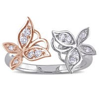 Laura Ashley Sterling Silver 1 /4CT TDW Diamond 2-Tone Milgrain Detail Butterfly Ring
