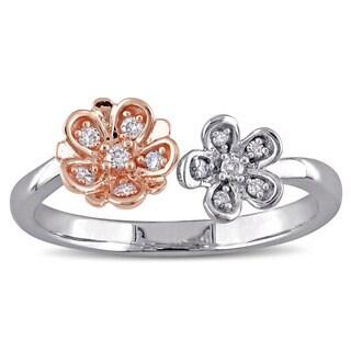 Laura Ashley 10k Rose and White Gold 1 /10ct TDW Diamond Double Flower 2-Tone Ring (G-H, I2-I3)
