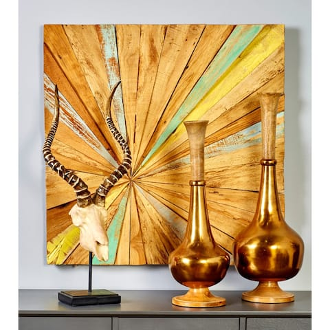 28-inch Wide x 28-inch High Teak Abstract Wall Decor by Studio 350