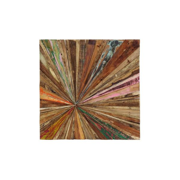 Shop 28-inch Wide x 28-inch High Teak Abstract Wall Decor ...