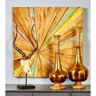 28-inch Wide x 28-inch High Teak Abstract Wall Decor