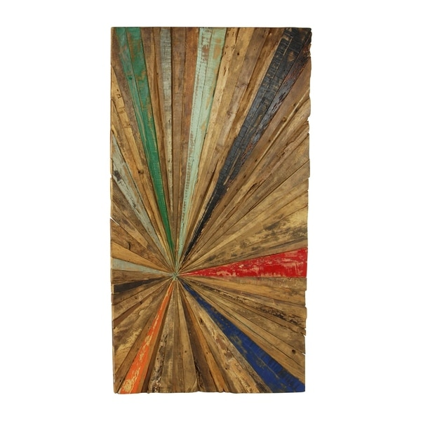 60 X 32 Eclectic Multi Color Reclaimed Wood Sunburst Wall Decor By Studio