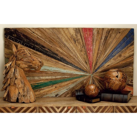 """60"""" x 32"""" Eclectic Multi-color Reclaimed Wood Sunburst Wall Decor by Studio 350"""