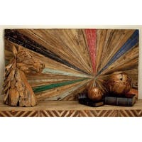 Reclaimed Wood 60-inch x 32-inch Abstract Wall Art - Multi-color