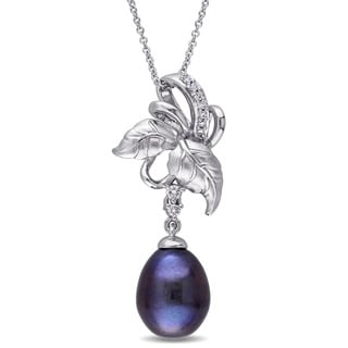 Laura Ashley 10k White Gold 1/10ct TDW Diamond and Black Freshwater Cultured Pearl Leaf Necklace (10-10.5 mm) (G-H, I2-I3)