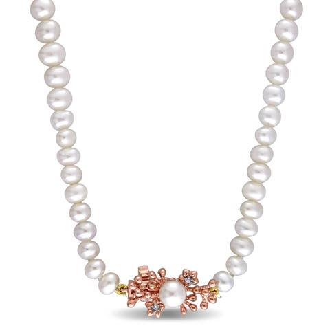 Laura Ashley Rose Plated Sterling Silver Freshwater Cultured Pearl and White Sapphire Floral Branch Necklace (5.5-8 mm)