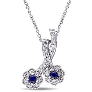 Laura Ashley 10k White Gold 1/6ct TDW Diamond and Created Blue Sapphire Double Flower Necklace (G-H, I2-I3)