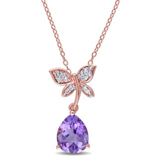 Laura Ashley Rose Plated Sterling Silver Amethyst and White Sapphire Butterfly Necklace