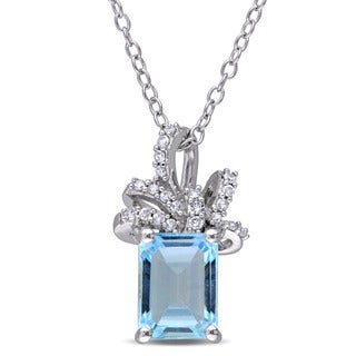 Laura Ashley Sterling Silver 1/10ct TDW Diamond and Sky Blue Topaz Ribbon Necklace (G-H, I2-I3)