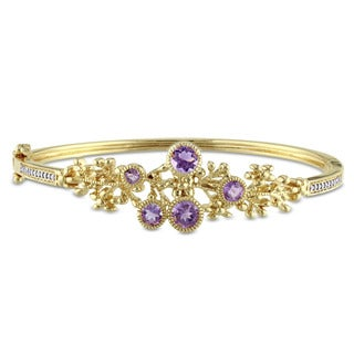 Laura Ashley Yellow Plated Sterling Silver 1/10ct TDW Diamond and Amethyst Floral Branch Bangle (G-H, I2-I3)
