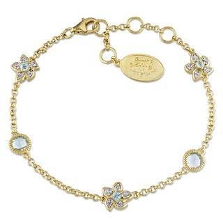 Laura Ashley Yellow Plated Sterling Silver Sky Blue Topaz and 1/6ct TDW Diamond Flower Bracelet (G-H, I2-I3)