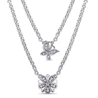 Laura Ashley Sterling Silver 1/5ct TDW Diamond Butterfly and Flower Two-Tiered Layered Necklace (G-H, I2-I3)