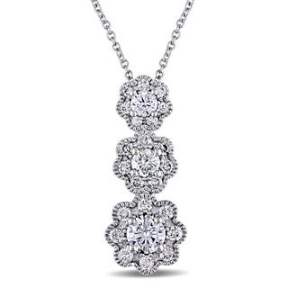 Laura Ashley 10k White Gold 1ct TDW Diamond Three-Flower Necklace